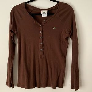 Lacoste chocolate brown longsleeved shirt, S